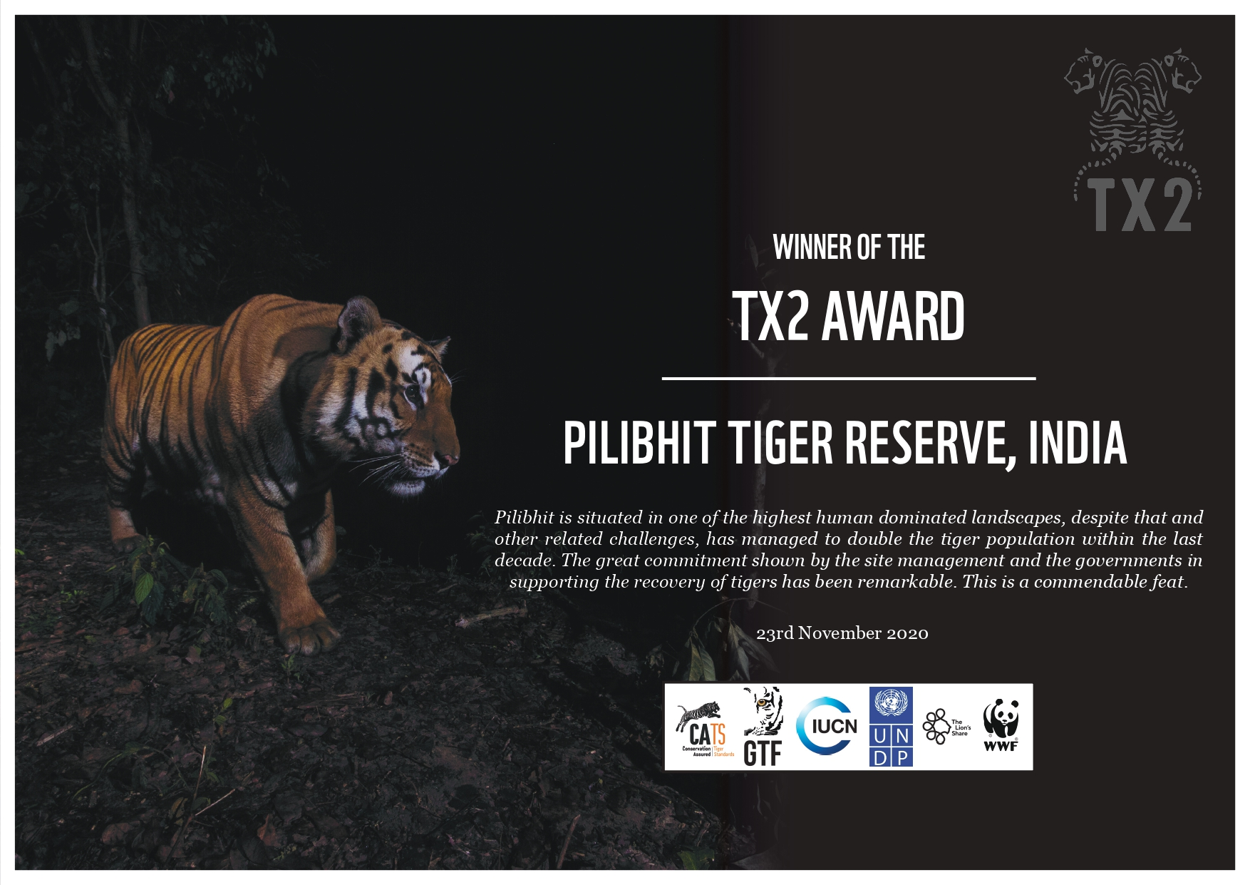 Pilibhit Tiger Reserve, UP forest department bag global award for doubling tiger population in a span of 4 years only