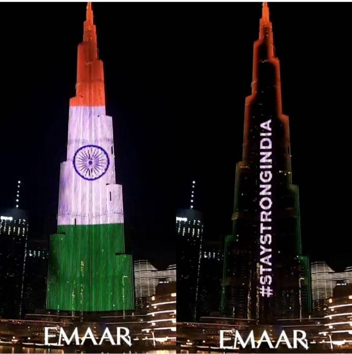 Covid-19 : Dubai's Burj Khalifa supports India with national flag display
